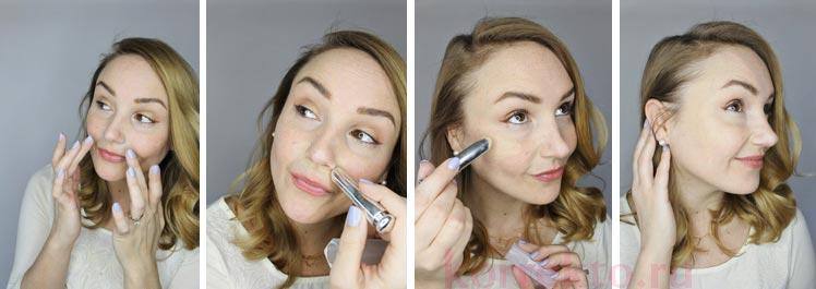 Легкий макияж с зеленым корректором