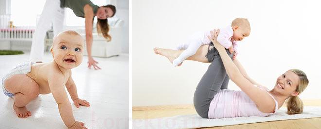Упражнения с малышом для фигуры