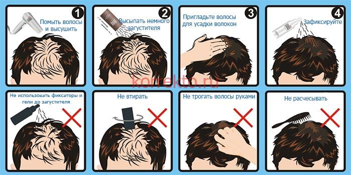Схема нанесения загустителей для волос